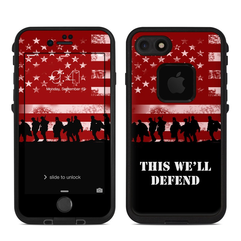 LifeProof iPhone 8 fre Case Skin design of Red, Flag, Font, Veterans day, Crowd, Illustration, Silhouette, Red flag with red, black, gray, pink colors