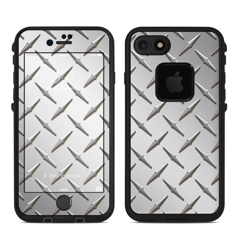 LifeProof iPhone 8 fre Case Skin design of Pattern, Metal, Line, Design, Steel, Parallel, Tile, Beige, Flooring with gray colors