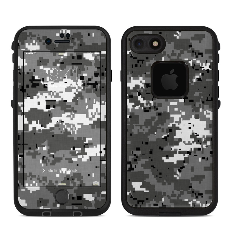 LifeProof iPhone 8 fre Case Skin design of Military camouflage, Pattern, Camouflage, Design, Uniform, Metal, Black-and-white with black, gray colors