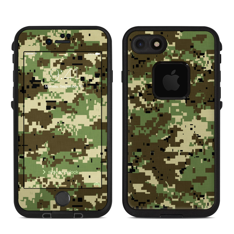 LifeProof iPhone 8 fre Case Skin design of Military camouflage, Pattern, Camouflage, Green, Uniform, Clothing, Design, Military uniform with black, gray, green colors