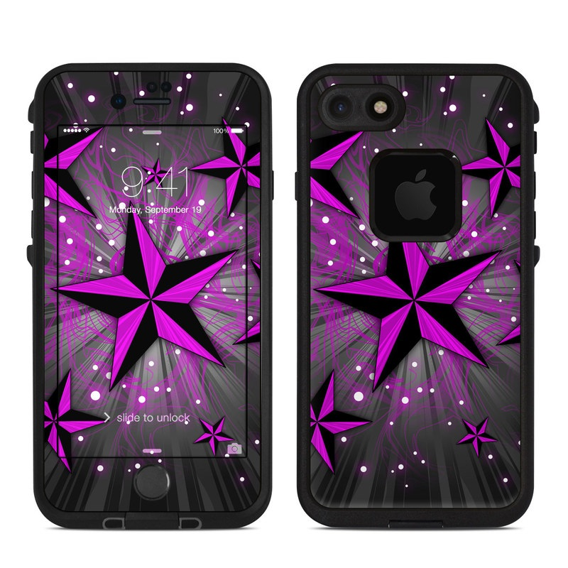 LifeProof iPhone 8 fre Case Skin design of Pink, Purple, Violet, Light, Star, Pattern, Magenta, Design, Graphic design, Material property with black, purple, gray colors