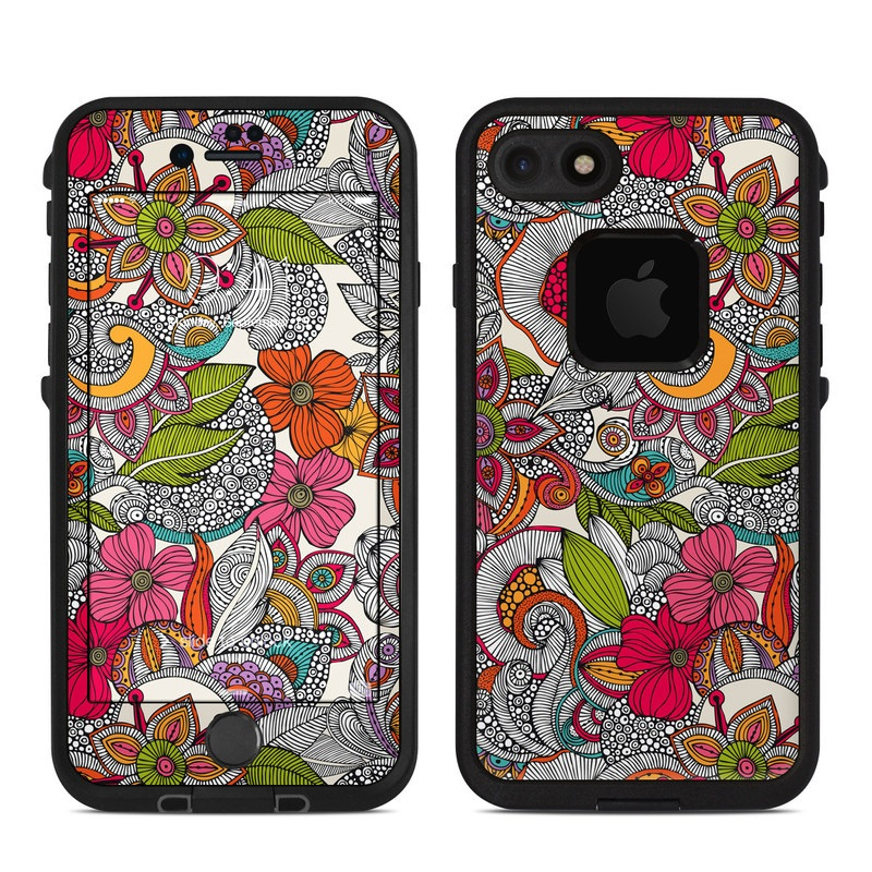 LifeProof iPhone 8 fre Case Skin design of Pattern, Drawing, Visual arts, Art, Design, Doodle, Floral design, Motif, Illustration, Textile with gray, red, black, green, purple, blue colors
