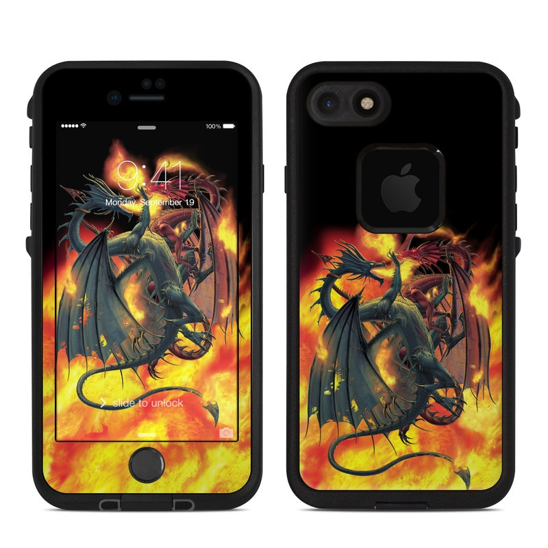 LifeProof iPhone 8 fre Case Skin design of Demon, Cg artwork, Fictional character, Supernatural creature, Illustration, Mythology, Geological phenomenon, Art, Mythical creature, Dragon with black, red, green, orange colors