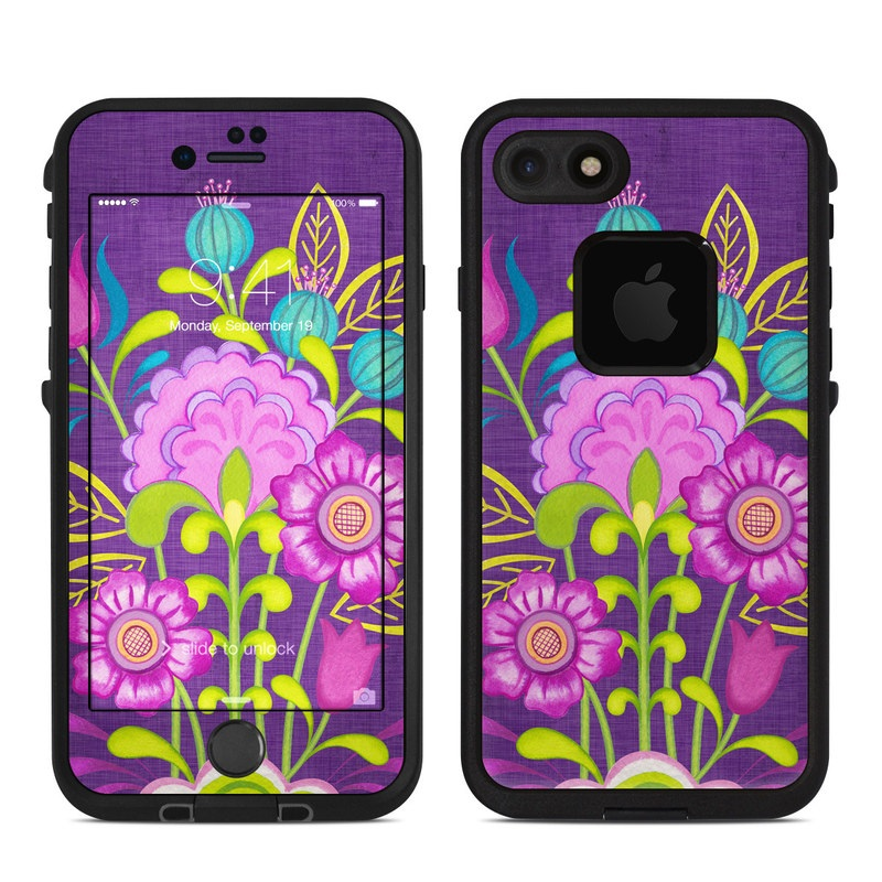 LifeProof iPhone 8 fre Case Skin design of Flower, Pattern, Plant, Violet, Botany, Visual arts, Design, Floral design, Art, Magenta with blue, purple, green, gray, red colors