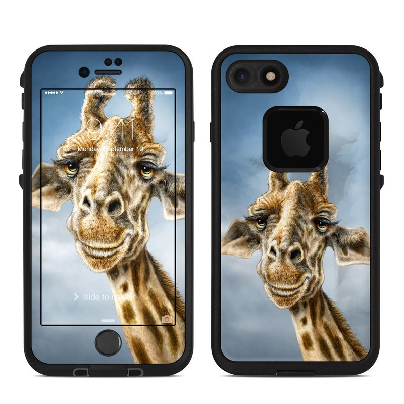 LifeProof iPhone 8 fre Case Skin design of Giraffe, Giraffidae, Terrestrial animal, Wildlife, Head, Snout, Organism, Adaptation, Close-up, Neck with gray, black, blue, green colors