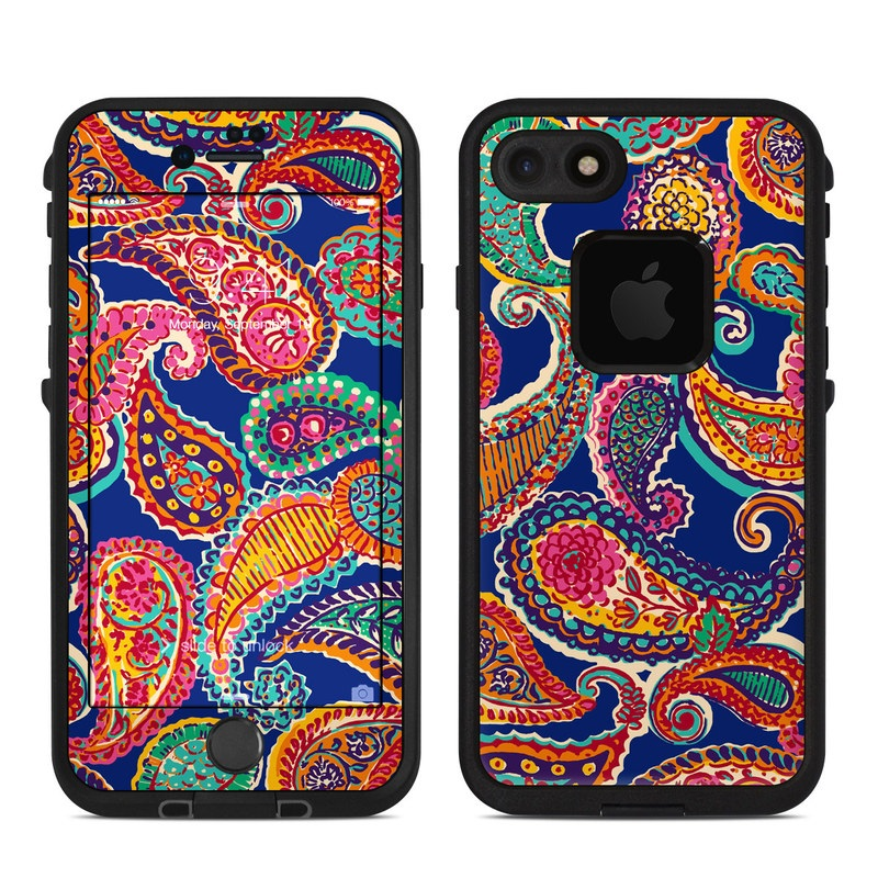 LifeProof iPhone 8 fre Case Skin design of Pattern, Paisley, Motif, Art, Visual arts, Design, Textile, Embroidery with red, black, gray, blue, green colors