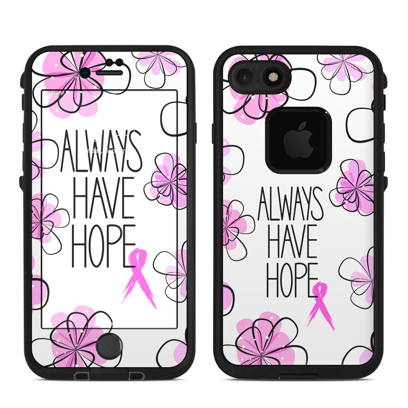 LifeProof iPhone 8 fre Case Skin design of Pink, Purple, Text, Petal, Line, Magenta, Leaf, Design, Pattern, Plant with white, gray, pink, black, purple colors