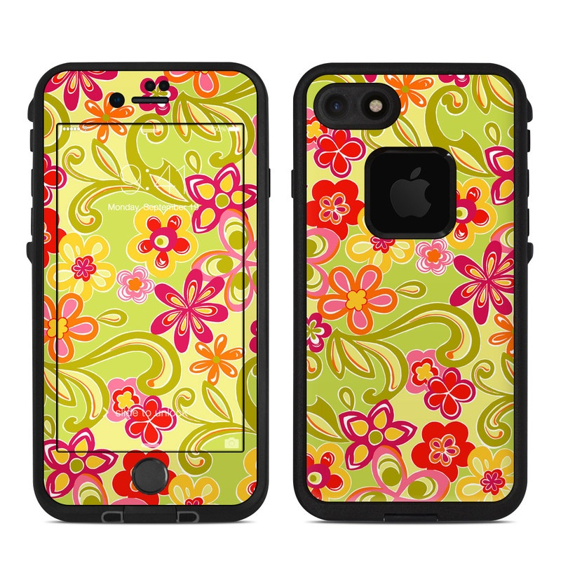 Hippie Flowers Hot Pink LifeProof iPhone 7 fre Skin
