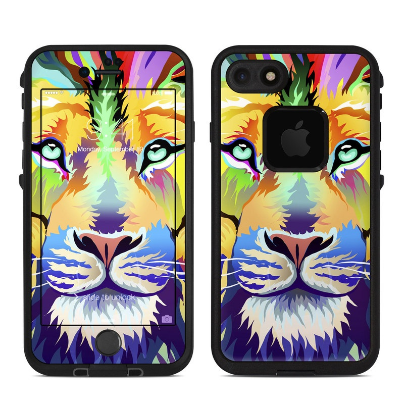 LifeProof iPhone 8 fre Case Skin design of Bengal tiger, Felidae, Lion, Wildlife, Big cats, Tiger, Carnivore, Art, Illustration, Painting with orange, yellow, green, red, pink, blue, purple colors