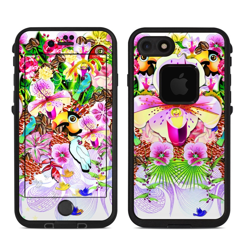 LifeProof iPhone 8 fre Case Skin design of Flower, Purple, Clip art, moth orchid, Plant, Floral design, Graphics, Cut flowers, Magenta, Illustration with gray, purple, red, white, green colors