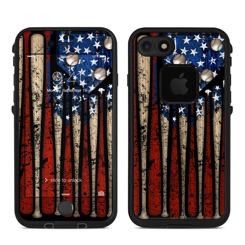 LifeProof iPhone 8 fre Case Skin design of Baseball bat, Baseball equipment with black, red, gray, green, blue colors