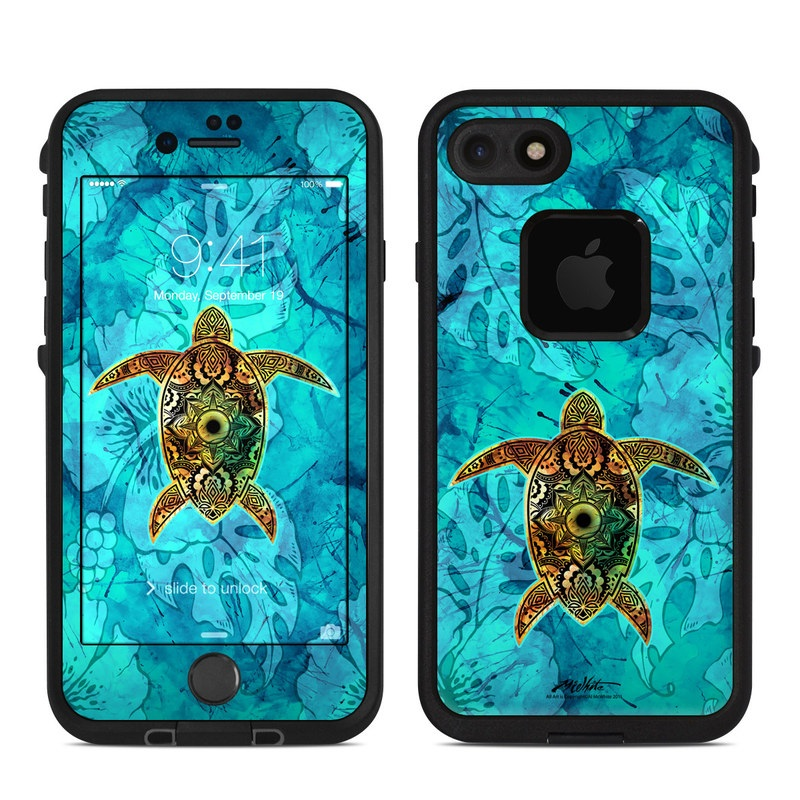 LifeProof iPhone 8 fre Case Skin design of Sea turtle, Green sea turtle, Turtle, Hawksbill sea turtle, Tortoise, Reptile, Loggerhead sea turtle, Illustration, Art, Pattern with blue, black, green, gray, red colors
