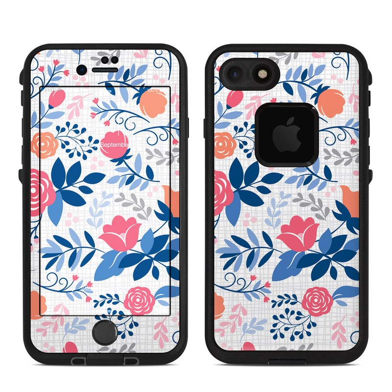 LifeProof iPhone 8 fre Case Skin design of Pattern, Wrapping paper, Floral design, Design, Textile, Line, Pedicel, Visual arts, Plant with white, pink, red, orange, blue, gray colors