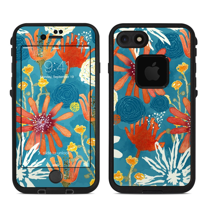 LifeProof iPhone 8 fre Case Skin design of Pattern, Visual arts, Wrapping paper, Design, Wildflower, Floral design, Textile, Flower, Plant, Motif with blue, red, gray, yellow, green colors