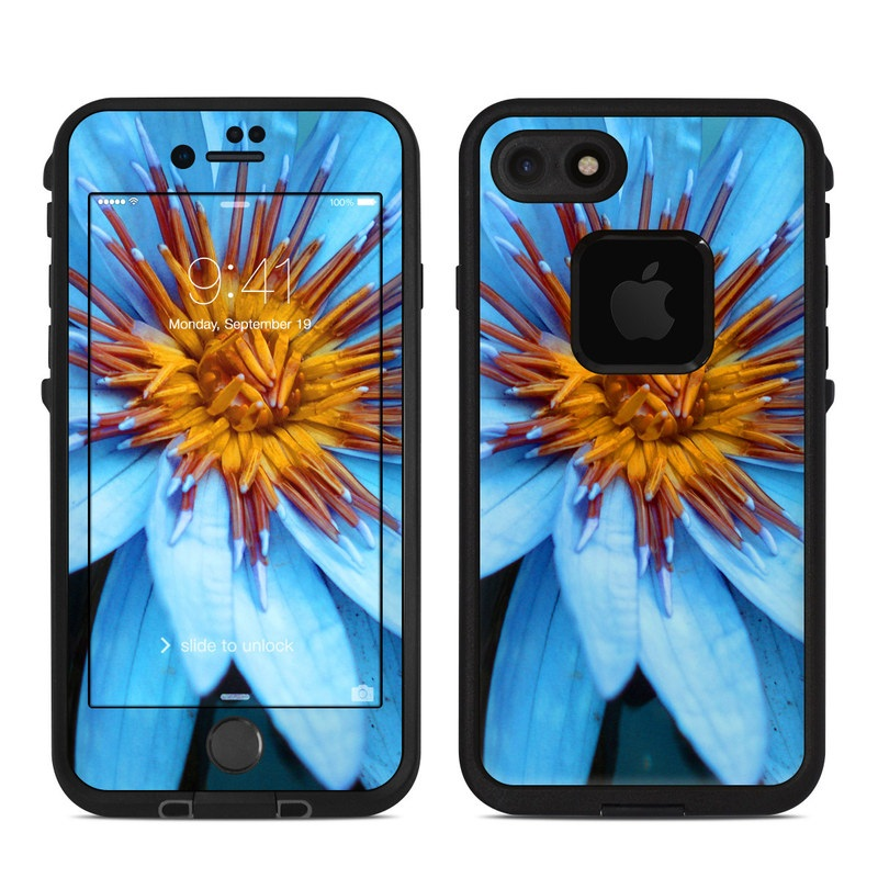 LifeProof iPhone 8 fre Case Skin design of Flowering plant, Blue, Petal, Flower, Plant, Botany, Close-up, Aquatic plant, water lily, Wildflower with black, blue, purple, red colors