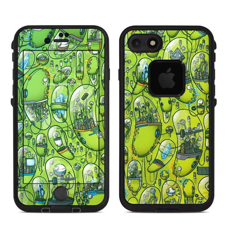 LifeProof iPhone 8 fre Case Skin design of Green, Pattern, Yellow, Design, Illustration, Plant, Art, Graphic design, Urban design with green, blue, gray, yellow, orange colors