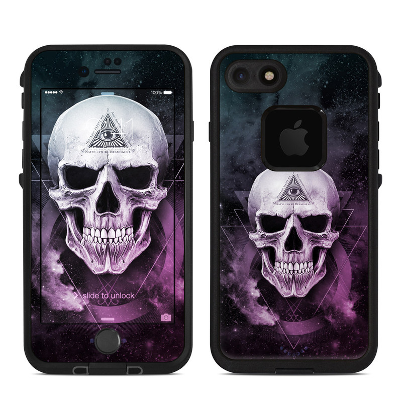 LifeProof iPhone 8 fre Case Skin design of Skull, Bone, Illustration, Font, Jaw, Fictional character, Graphic design, Graphics, Art with black, white, gray, purple colors
