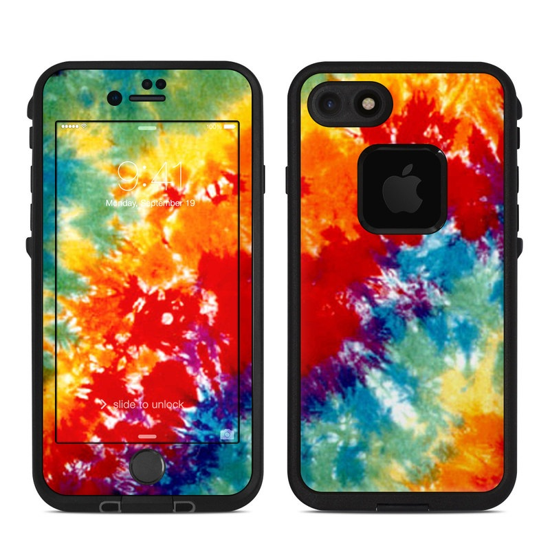 LifeProof iPhone 8 fre Case Skin design of Orange, Watercolor paint, Sky, Dye, Acrylic paint, Colorfulness, Geological phenomenon, Art, Painting, Organism with red, orange, blue, green, yellow, purple colors