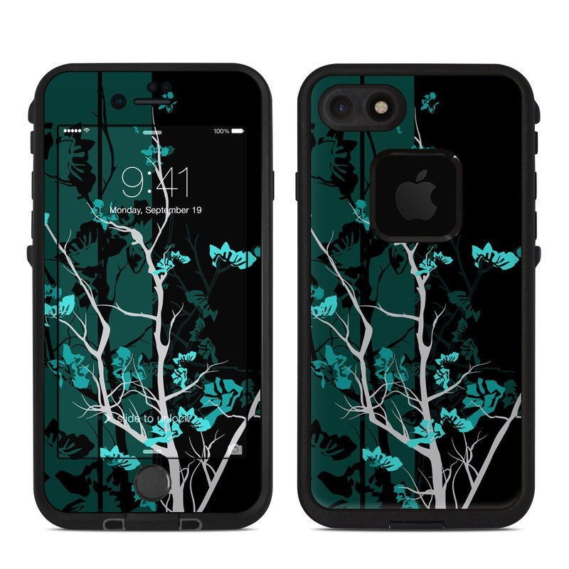 LifeProof iPhone 8 fre Case Skin design of Branch, Black, Blue, Green, Turquoise, Teal, Tree, Plant, Graphic design, Twig with black, blue, gray colors