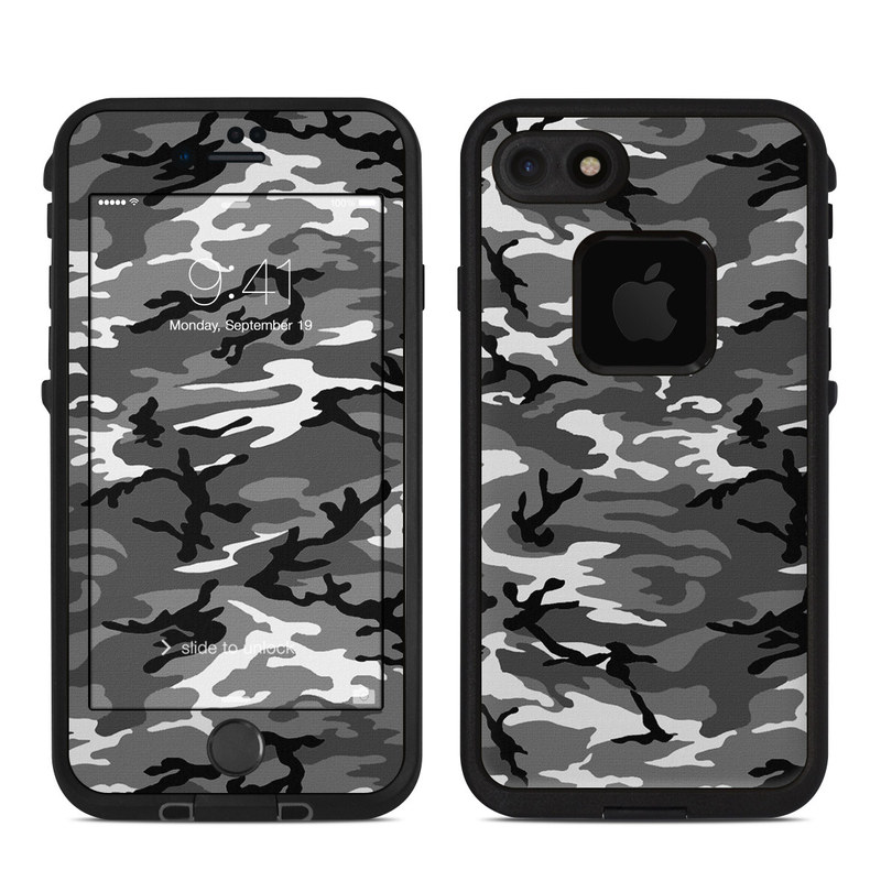 LifeProof iPhone 8 fre Case Skin design of Military camouflage, Pattern, Clothing, Camouflage, Uniform, Design, Textile with black, gray colors