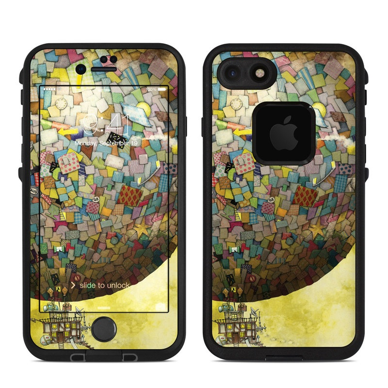 LifeProof iPhone 8 fre Case Skin design of World, Illustration, Art, Sphere, Pattern, Painting with yellow, brown, red, blue, orange, green colors