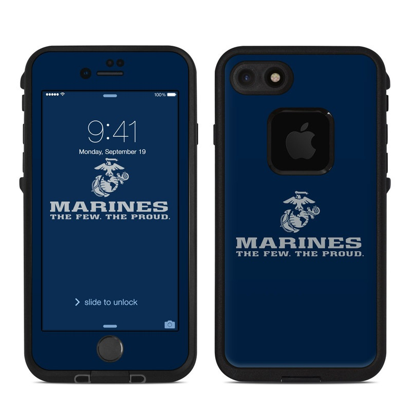 USMC Blue LifeProof iPhone 8 fre Case Skin