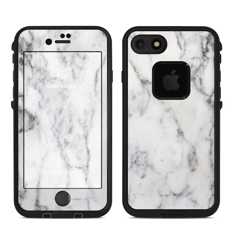LifeProof iPhone 8 fre Case Skin design of White, Geological phenomenon, Marble, Black-and-white, Freezing with white, black, gray colors