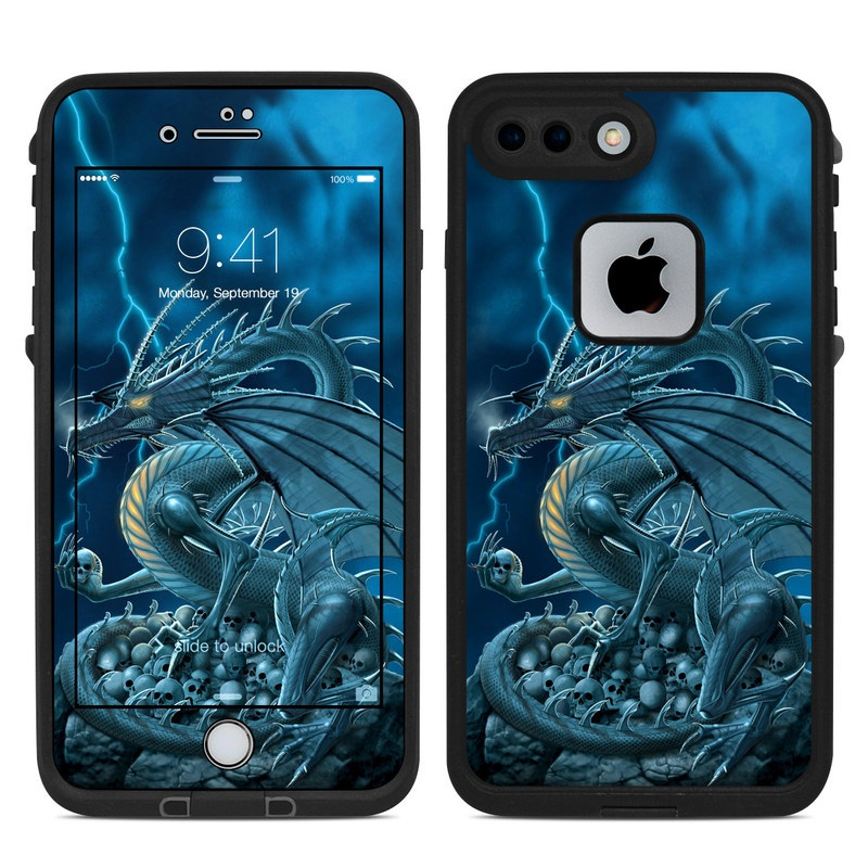 LifeProof iPhone 8 Plus fre Case Skin design of Cg artwork, Dragon, Mythology, Fictional character, Illustration, Mythical creature, Art, Demon with blue, yellow colors