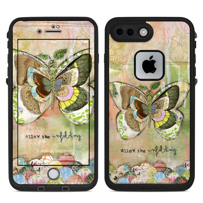 LifeProof iPhone 8 Plus fre Case Skin design of Butterfly, Art, Fictional character, Pollinator, Moths and butterflies, Watercolor paint, Illustration with green, brown, yellow, blue, pink, red colors