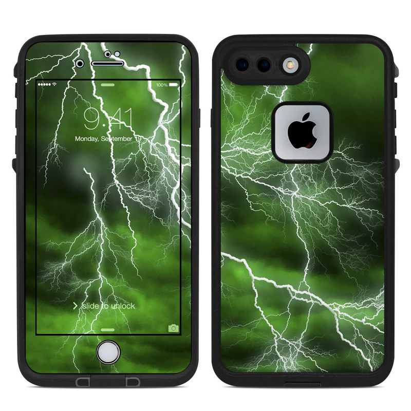 LifeProof iPhone 8 Plus fre Case Skin design of Thunderstorm, Thunder, Lightning, Nature, Green, Water, Sky, Atmosphere, Atmospheric phenomenon, Daytime with green, black, white colors