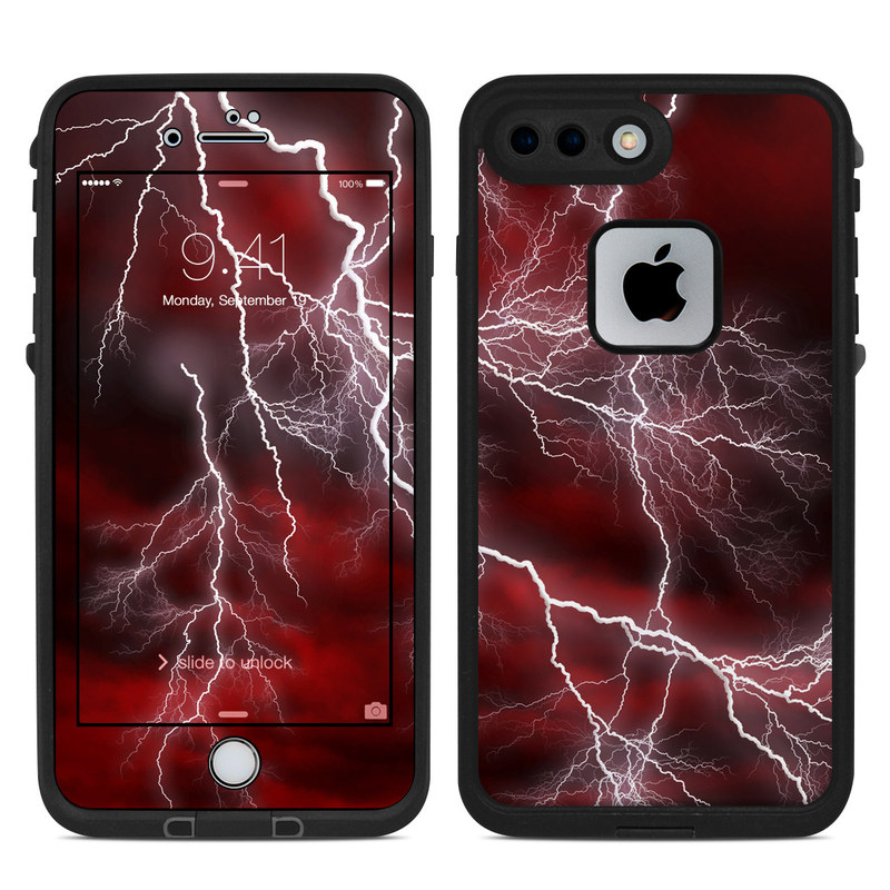 LifeProof iPhone 8 Plus fre Case Skin design of Thunder, Thunderstorm, Lightning, Red, Nature, Sky, Atmosphere, Geological phenomenon, Lighting, Atmospheric phenomenon with red, black, white colors