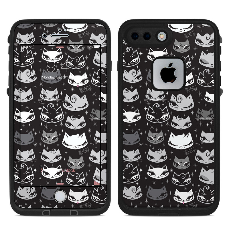 LifeProof iPhone 8 Plus fre Case Skin design of Pattern, Design, Headgear, Hat, Smile, Team, Crowd with black, white, gray colors