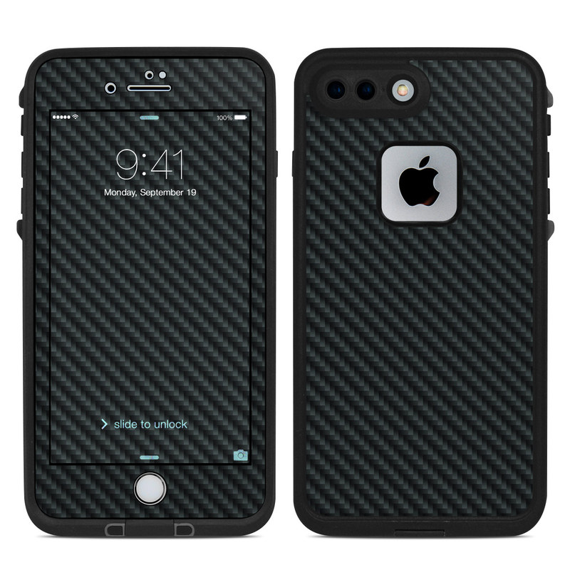 LifeProof iPhone 8 Plus fre Case Skin design of Green, Black, Blue, Pattern, Turquoise, Carbon, Textile, Metal, Mesh, Woven fabric with black colors