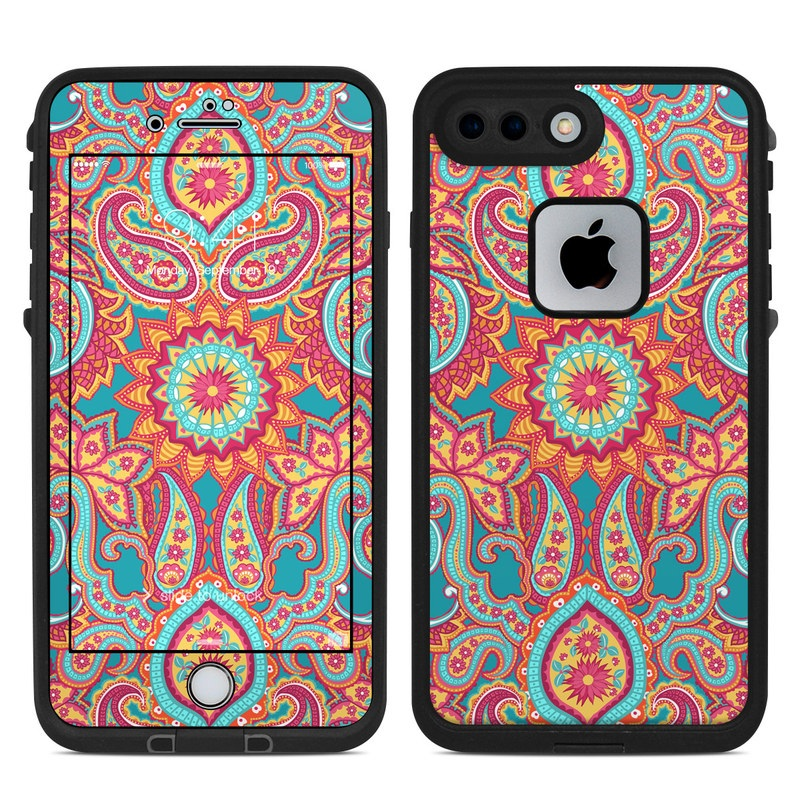 LifeProof iPhone 8 Plus fre Case Skin design of Pattern, Paisley, Motif, Visual arts, Design, Art, Textile, Psychedelic art with orange, yellow, blue, red colors