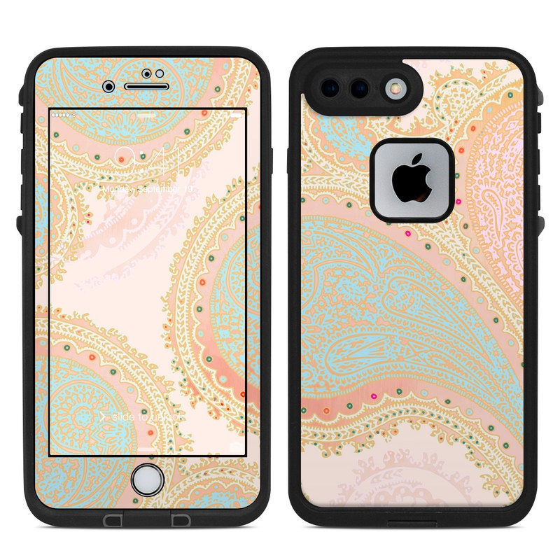 LifeProof iPhone 8 Plus fre Case Skin design of Pattern, Visual arts, Paisley, Pink, Design, Motif, Line, Wallpaper, Peach with pink, blue, red colors