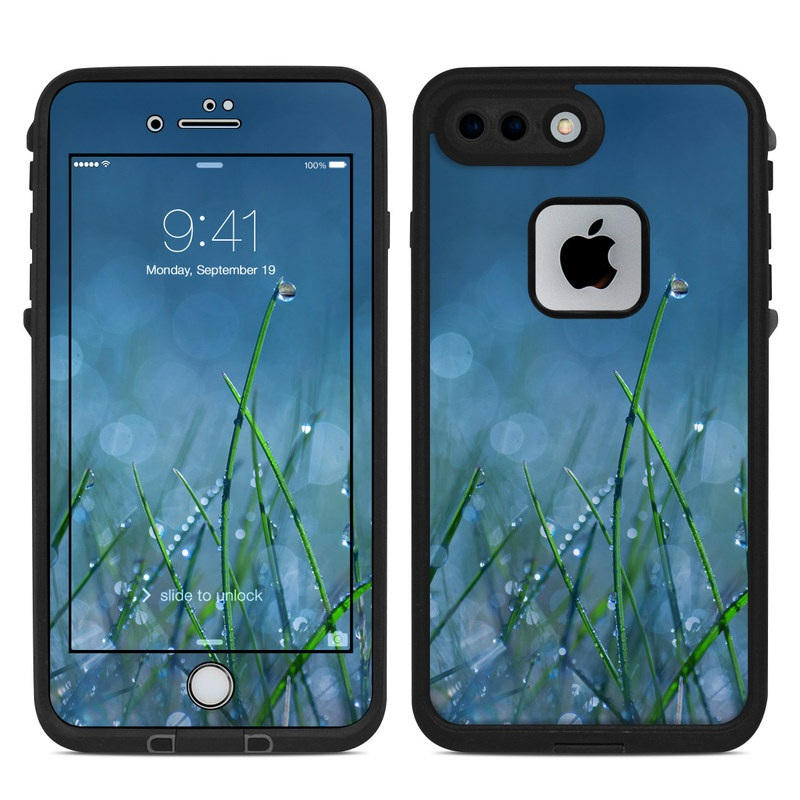 LifeProof iPhone 8 Plus fre Case Skin design of Moisture, Dew, Water, Green, Grass, Plant, Drop, Grass family, Macro photography, Close-up with blue, black, green, gray colors