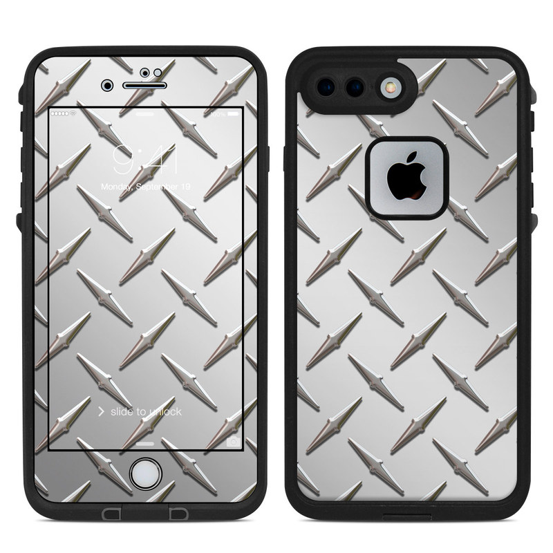 LifeProof iPhone 8 Plus fre Case Skin design of Pattern, Metal, Line, Design, Steel, Parallel, Tile, Beige, Flooring with gray colors