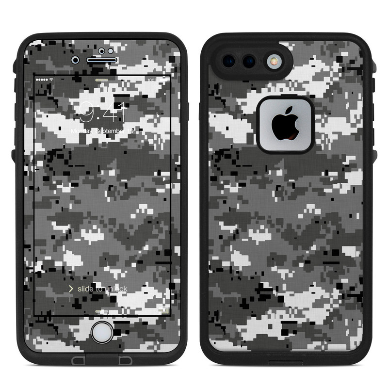 LifeProof iPhone 8 Plus fre Case Skin design of Military camouflage, Pattern, Camouflage, Design, Uniform, Metal, Black-and-white with black, gray colors