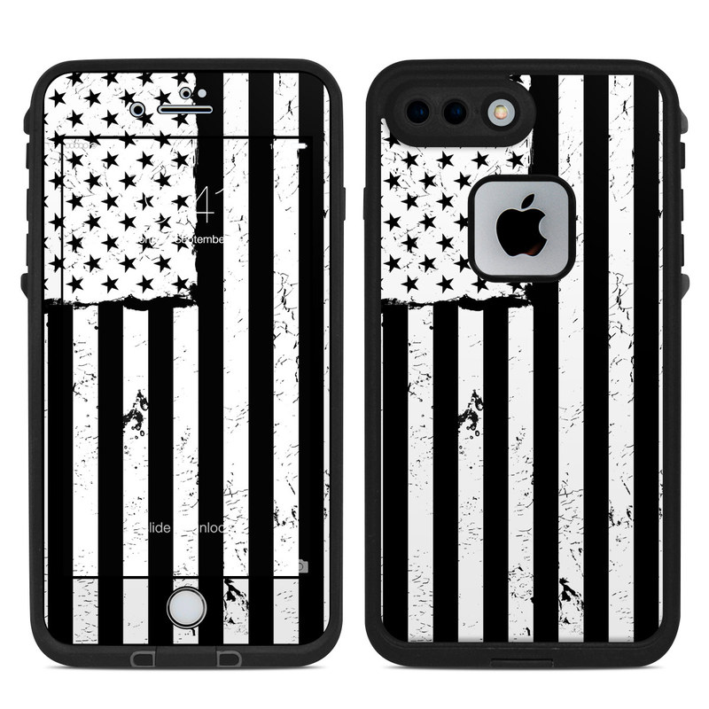LifeProof iPhone 8 Plus fre Case Skin design of Line, Black-and-white, Text, Monochrome, Pattern, Design, Monochrome photography, Font, Parallel, Style with white, blakc colors