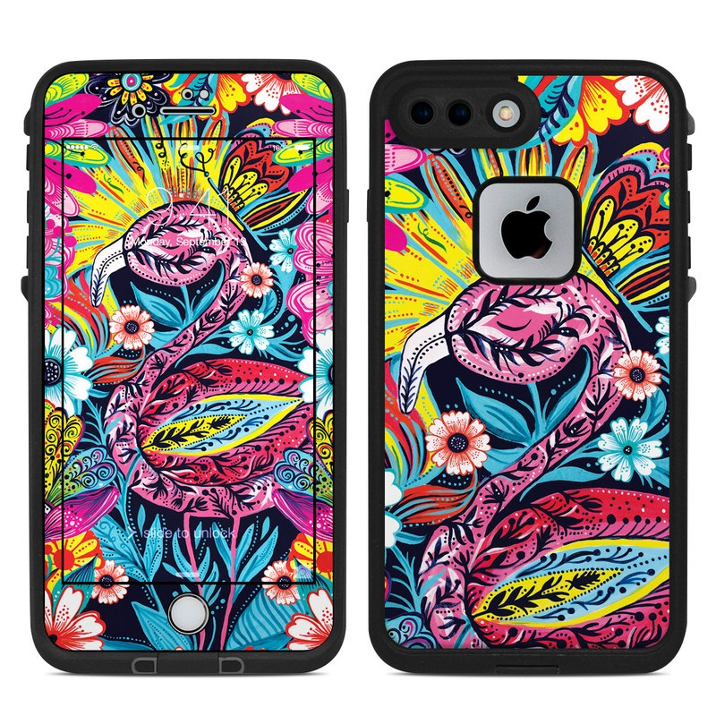 LifeProof iPhone 8 Plus fre Case Skin design of Psychedelic art, Pattern, Visual arts, Art, Design, Textile, Illustration, Plant, Graphic design, Drawing with pink, yellow, black, blue, white colors