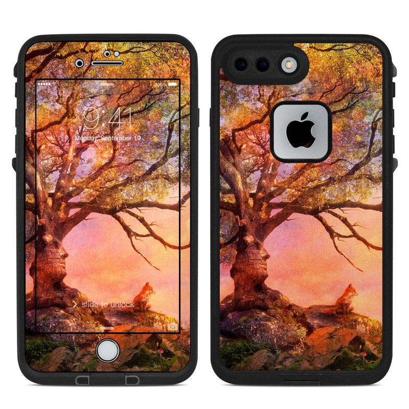 LifeProof iPhone 8 Plus fre Case Skin design of Nature, Tree, Sky, Natural landscape, Branch, Leaf, Woody plant, Trunk, Landscape, Plant with pink, red, black, green, gray, orange colors
