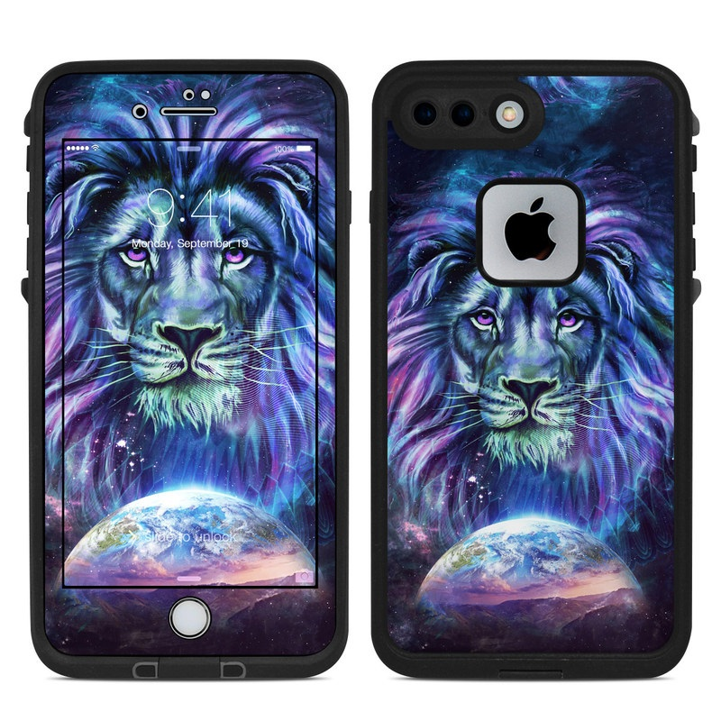 LifeProof iPhone 8 Plus fre Case Skin design of Lion, Felidae, Purple, Wildlife, Big cats, Illustration, Darkness, Space, Painting, Art with purple, blue, green, black, white, red colors
