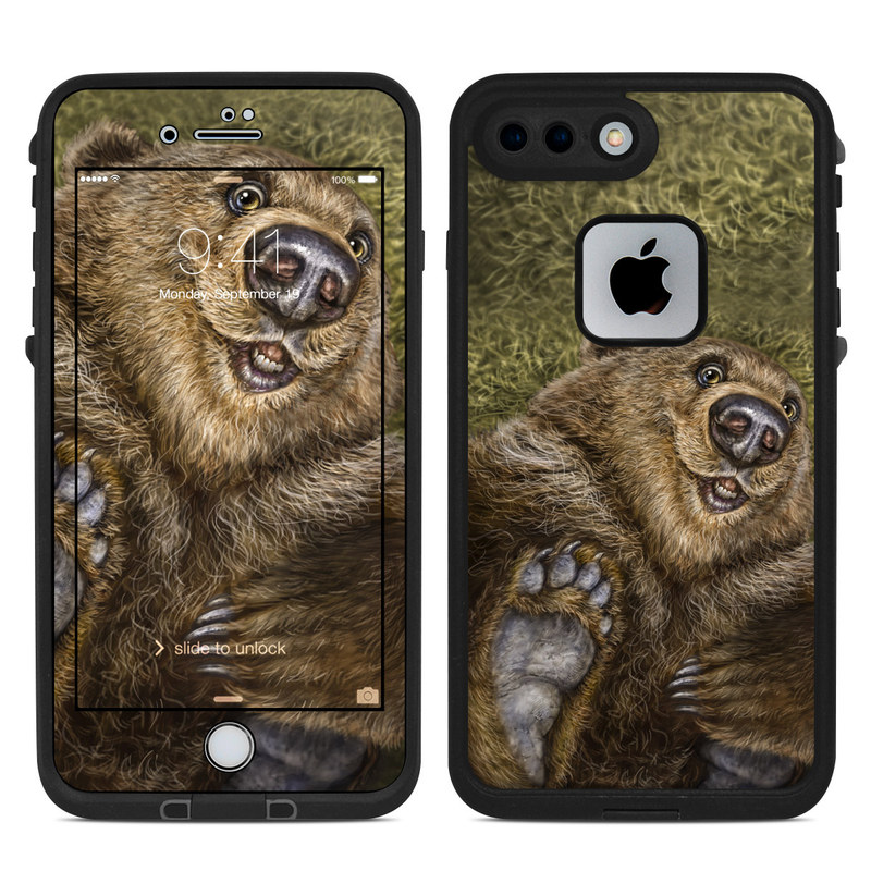LifeProof iPhone 8 Plus fre Case Skin design of Vertebrate, Mammal, Terrestrial animal, Brown bear, Grizzly bear, Fur, Snout, Bear, Wildlife, Carnivore with brown, green, black, gray colors