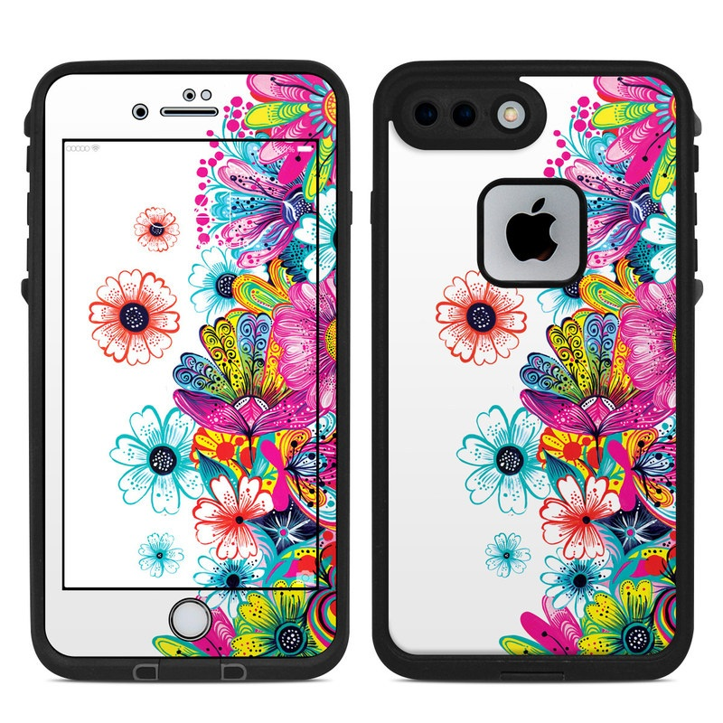 LifeProof iPhone 8 Plus fre Case Skin design of Pattern, Floral design, Design, Graphic design, Flower, Wildflower, Plant, Graphics, Clip art, Visual arts with white, pink, blue, yellow, purple, red colors