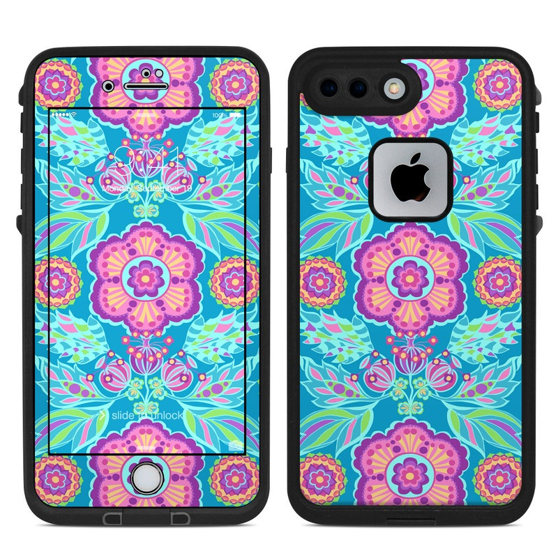 LifeProof iPhone 8 Plus fre Case Skin design of Pattern, Turquoise, Psychedelic art, Visual arts, Textile, Design, Magenta, Art, Motif, Symmetry with blue, gray, pink, purple colors