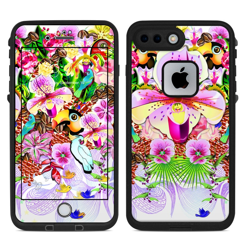 LifeProof iPhone 8 Plus fre Case Skin design of Flower, Purple, Clip art, moth orchid, Plant, Floral design, Graphics, Cut flowers, Magenta, Illustration with gray, purple, red, white, green colors