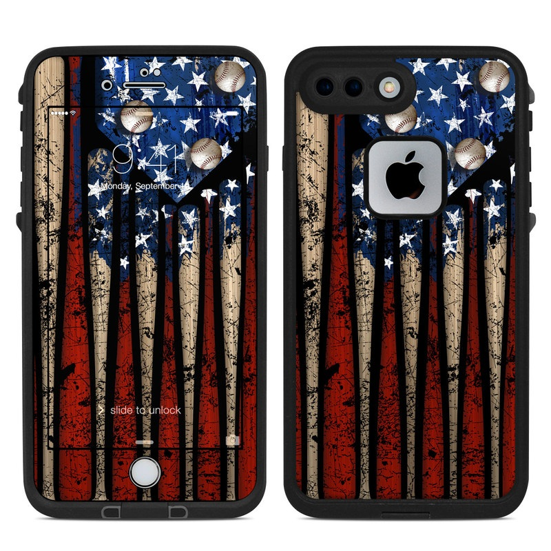 LifeProof iPhone 8 Plus fre Case Skin design of Baseball bat, Baseball equipment with black, red, gray, green, blue colors