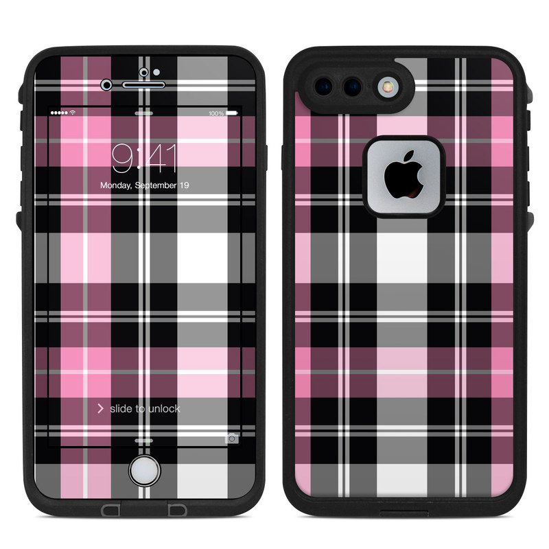 LifeProof iPhone 8 Plus fre Case Skin design of Plaid, Tartan, Pattern, Pink, Purple, Violet, Line, Textile, Magenta, Design with black, gray, pink, red, white, purple colors