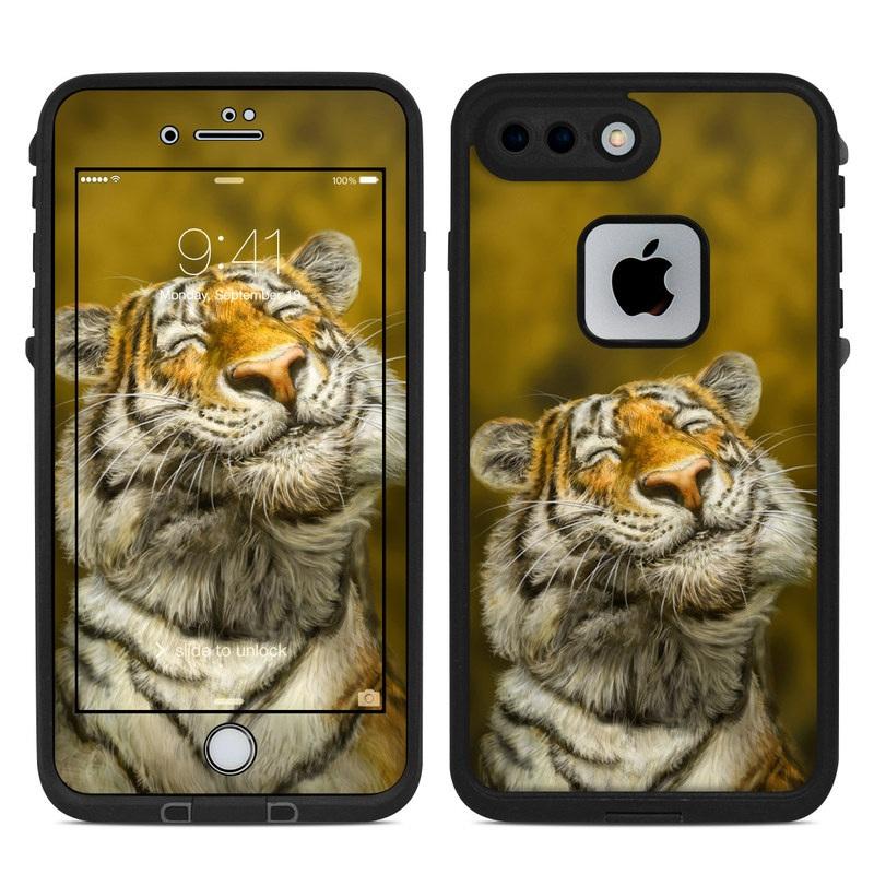 LifeProof iPhone 8 Plus fre Case Skin design of Tiger, Vertebrate, Bengal tiger, Mammal, Wildlife, Siberian tiger, Terrestrial animal, Felidae, Snout, Whiskers with black, white, orange, yellow colors