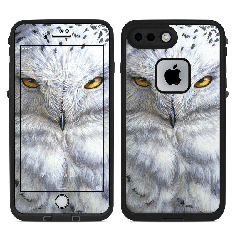 LifeProof iPhone 8 Plus fre Case Skin design of Owl, Bird, Bird of prey, Snowy owl, great grey owl, Close-up, Eye, Snout, Wildlife, Eastern Screech owl with gray, white, black, blue, purple colors